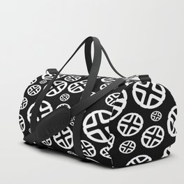 Scattered Circles - Black and White Pattern of Circles and Crosses Duffle Bag