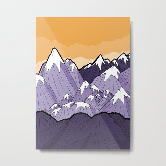 Mountains under the orange sky Metal Print