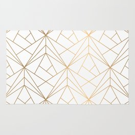 Geometric Gold Pattern With White Shimmer Rug