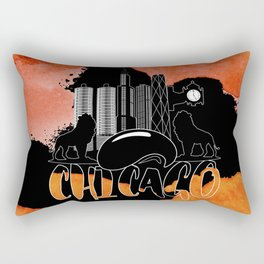 Chicago Iconic Landmarks Abstract Cityscape Rectangular Pillow