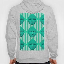 CONTEMPORARY TURQUOISE MOON FACE & STRIPES ART Hoody