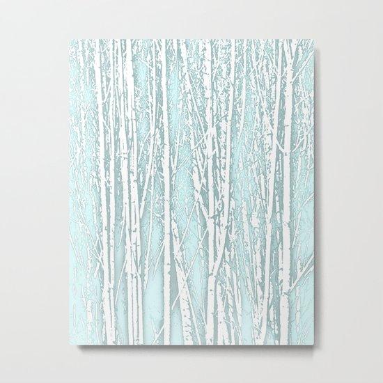 Birch Trees Pattern Pastel Blue Metal Print