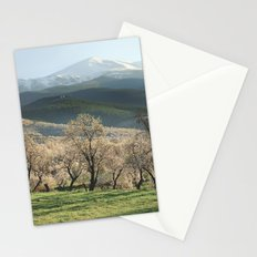 Flowering almond at the Mountains. Retro Stationery Cards