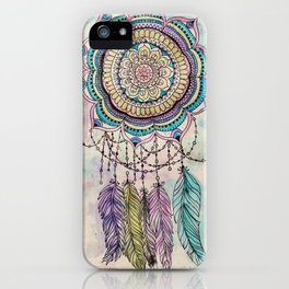 Modern tribal hand paint dreamcatcher mandala design iPhone Case