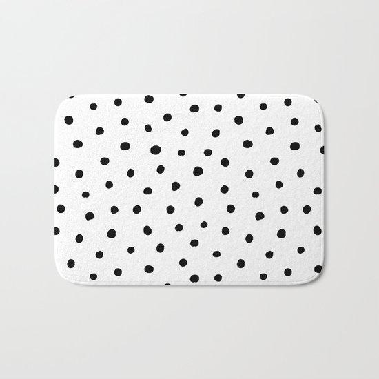 Polka Dot White Background Bath Mat