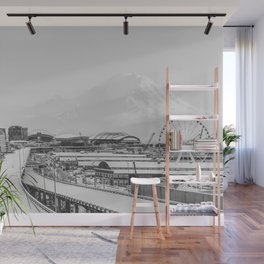 Seattle in White Wall Mural