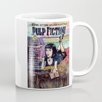 pulp fiction Mugs featuring Pulp Fiction by Jessis Kunstpunkt.