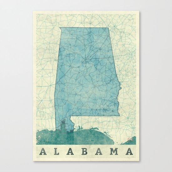 Alabama State Map Blue Vintage Canvas Print