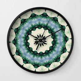 Cerulean Blue and Sacramento Green Mandala Wall Clock