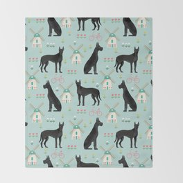 Great Dane windmills cute custom pet portrait dog lover dog breeds great danes Throw Blanket