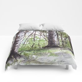 Woodland Trees in Vermont Illustration Nature Art Comforters