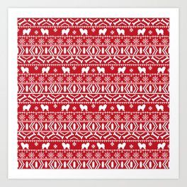 Chow Chow fair isle christmas pattern minimal ugly sweater dog breed Art Print