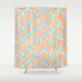Crab orange blue nautical Shower Curtain