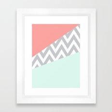 Original Mint & Coral Chevron Block Framed Art Print