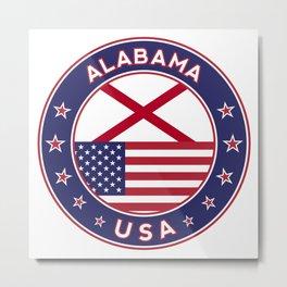 Alabama, Alabama t-shirt, Alabama sticker, circle, Alabama flag, white bg Metal Print