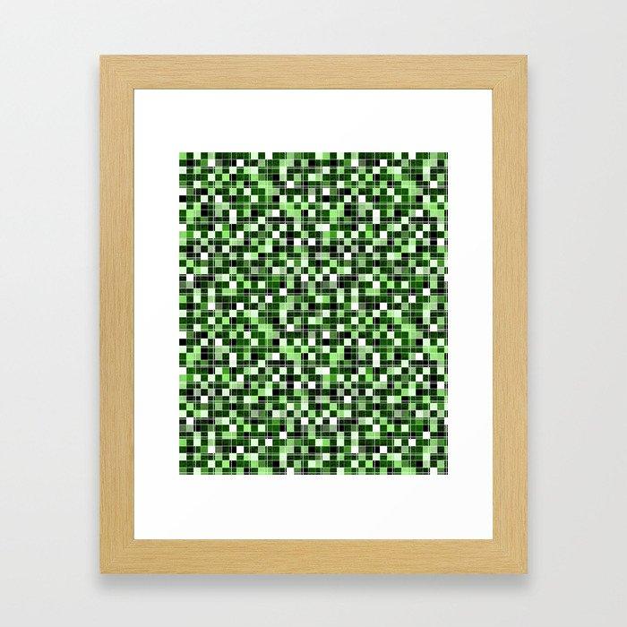 Grey, white, black, green, mint mosaic. Framed Art Print