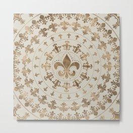 Fleur-de-lis ornament Pastel Gold Metal Print