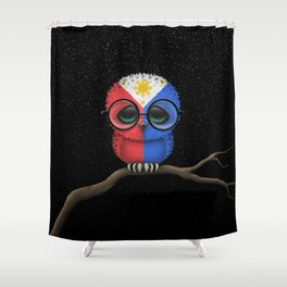 Baby Owl with Glasses and Filipino Flag Shower Curtain