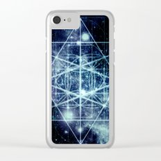 Galaxy Sacred Geometry Flower of Life Ocean Blue Clear iPhone Case