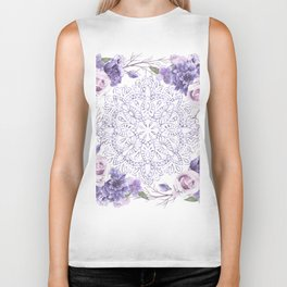 Mandala Rose Garden Lavender Purple Violet Biker Tank