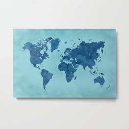 Vintage and distressed teal world map Metal Print