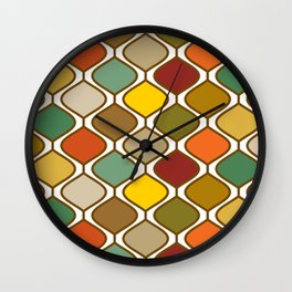 Mid Century Modern Autumn Retro Rounded Diamond Pattern Wall Clock