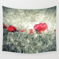 letters Wall Tapestries featuring Poppies & Letters by ARTbyJWP
