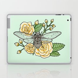 Cicada with Roses - Mint Laptop & iPad Skin