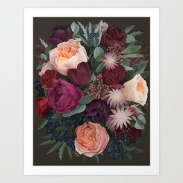 Dark florals Art Print