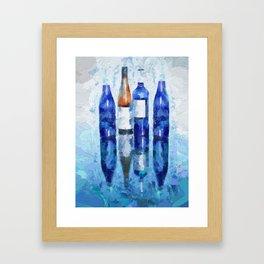 Wine Bottles Reflection Framed Art Print
