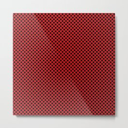 Fiery Red and Black Polka Dots Metal Print