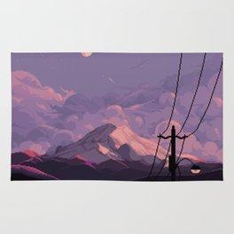 Mt Rainier with Powerlines Rug
