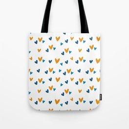 Blue Orange Heart Print Tote Bag