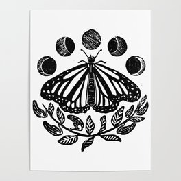 Monarch, the moon, and milkweed Poster