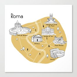 Mapping Roma - Yellow Canvas Print