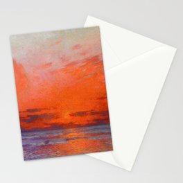 Red Skies at Night, Sailor's Delight, Sailboats landscape painting by Ferdinand Du Puigaudeau Stationery Cards