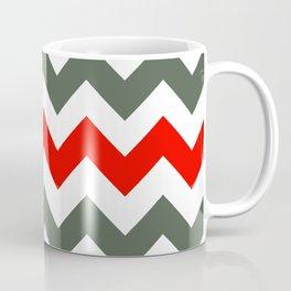 Chevron Pattern In Poppy Red Grey and White Coffee Mug