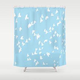 Happy Birds Aqua Shower Curtain