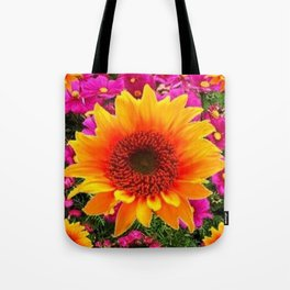 ABSTRACT GOLD SUNFLOWER FLOWERS ART Tote Bag