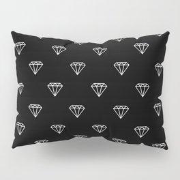 diamond illustration pattern - black and white Pillow Sham
