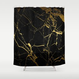 back & gold marble Shower Curtain