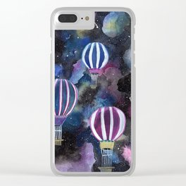 Hot Air Balloon in Galaxy Sky Clear iPhone Case