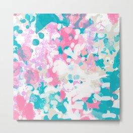 Rhea - abstract minimal painting pink and blue gender neutral nursery Metal Print