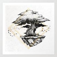 Lonely Tree Inktober :: The Air Seems Restless Art Print
