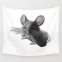 mouse Wall Tapestries featuring mouse by Кaterina Кalinich