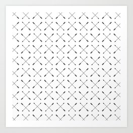Crossed Arrows Pattern - Black and white Art Print