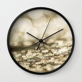 Shiny gold sparkling bokeh Wall Clock
