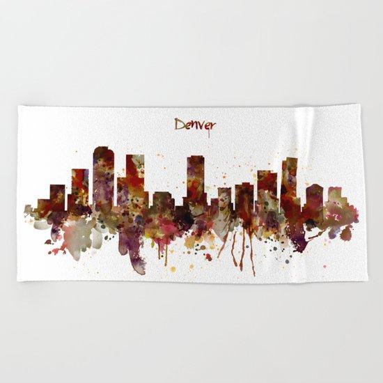 Denver Skyline Silhouette Beach Towel