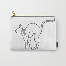 Sphynx Cat Arching Its Back - Naked Cat -  Simple Line - Minimal Carry-All Pouch