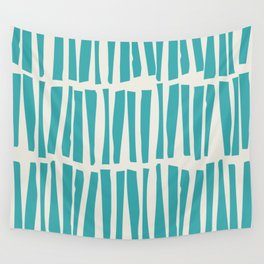 Aqua Teal Turquoise Solid Color Vertical Dash Stripe Line Pattern on Alabaster White - Aquarium SW 6767 Wall Tapestry